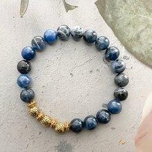 Fashion Natural Stone Beaded Bracelet for Women And Men Blue Tigereye Gemstone Bracelet Couple Brace