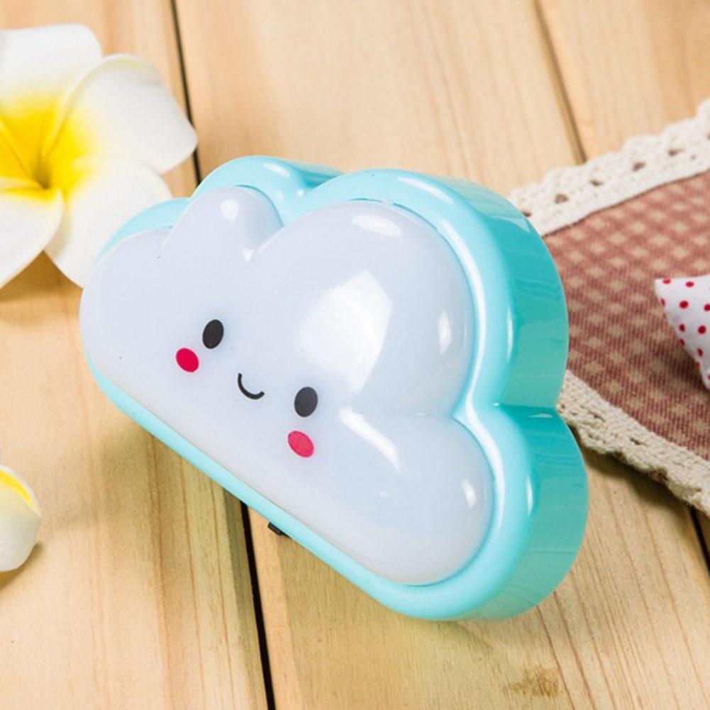 Durable ABS Bulb Baby Kids Bedroom Button Cute Cloud Shape Cartoon Mini Socket Bedside Lamp Night Light Wall Plug