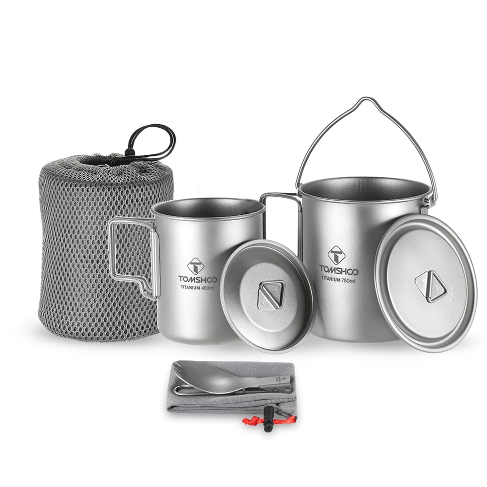 TOMSHOO 3 Pcs Set Titanium 750ml Pot 450ml Water Cup Mug with Lid Collapsible Handle Folding Spork Kamp Lightweight Picnic