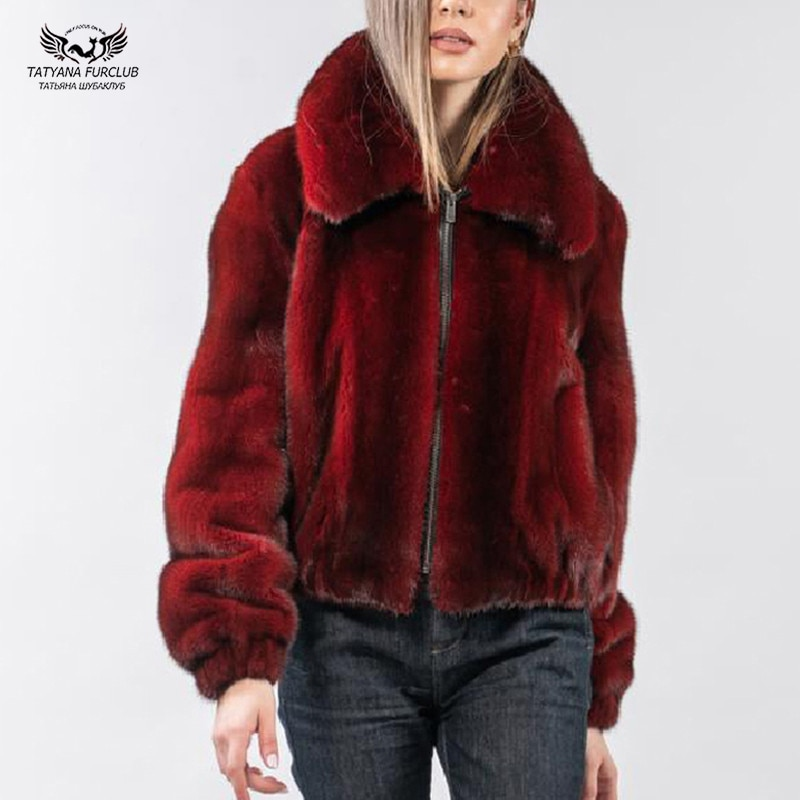 2020 Fashion Luxury Mink Fur Jacket Women Natural High Quality Mink Fur Coat Real With Lapel Collar Fur Coats Female Winter Warm