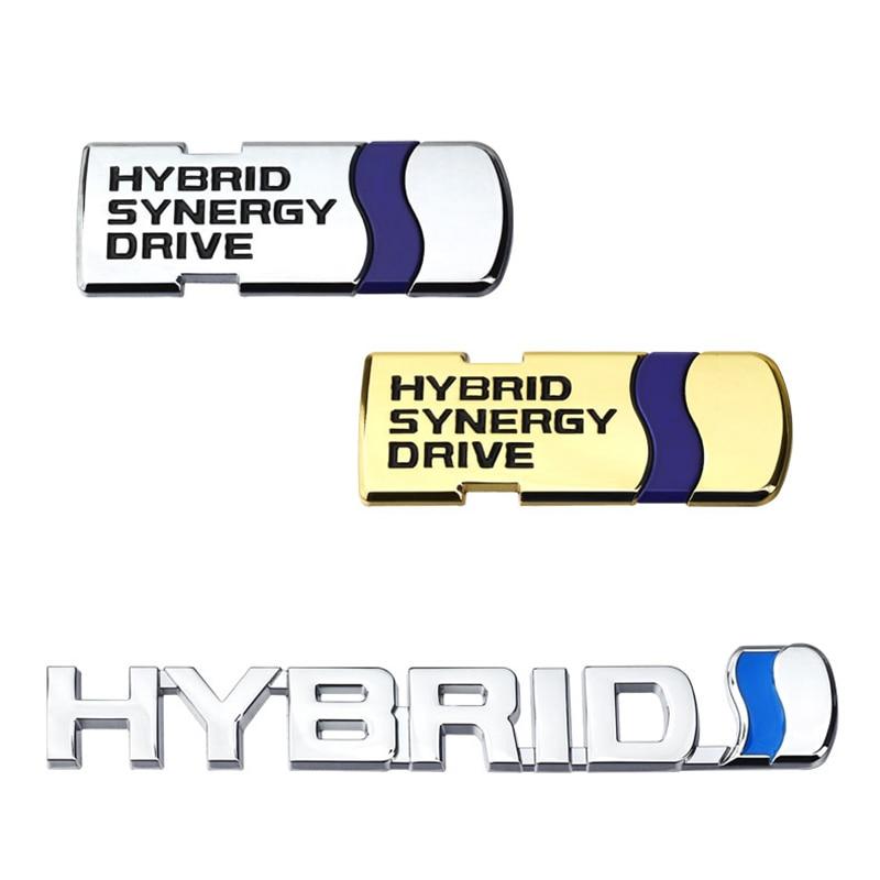 Insignia 3D de Metal cromado híbrido Synergy Drive Sticke, accesorios decorativos, estilo de coche para Toyota Camry Reiz Levin Prius