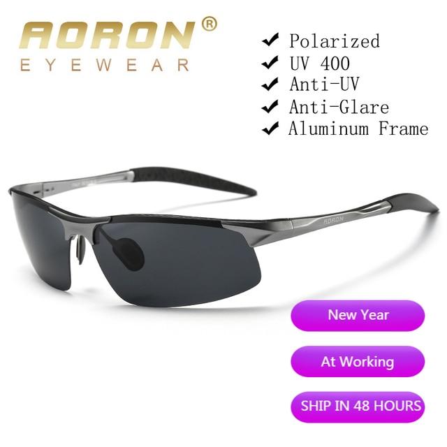 AORON Driving Polarized Sunglasses Men Aluminum Magnesium Frame Sports Sun Glasses Driver Retro Goggles Eyewear UV400 Anti-Glare