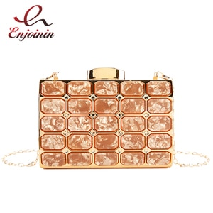Metal Special Marble Design Small Square Bag 2021Trend Women Chain Messenger Bag Ladies Shoulder Bag Evening Gift Bag and Purses