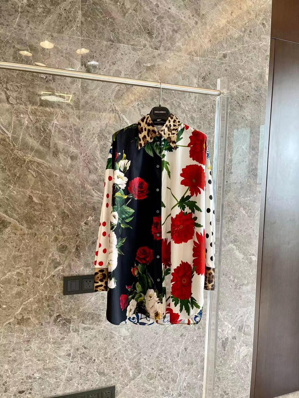 2021 Весенняя Новинка длинная блуза из хлопка производства многоцветный границу Изящная блузка широкоформатной печати леопардовая расцветк...