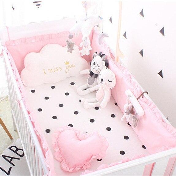 5pcs  Crib Bumper Baby Bedding bumpers Kid Newborns Boys Girls Crib Protector crib bedding sets bed bumpers , 4bumper+sheet