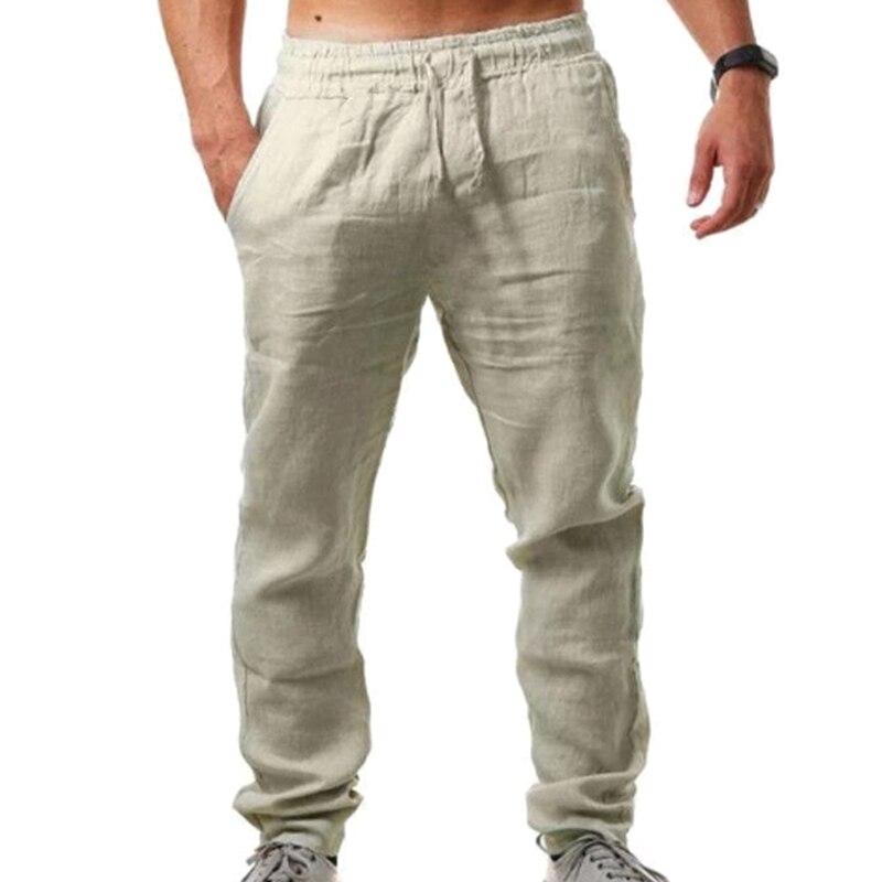 VICABO Pants for Men Solid Casual Sports Pants Cotton Linen Elastic Waist Sports Pants Mens Clothing pantalons pour hommes#w