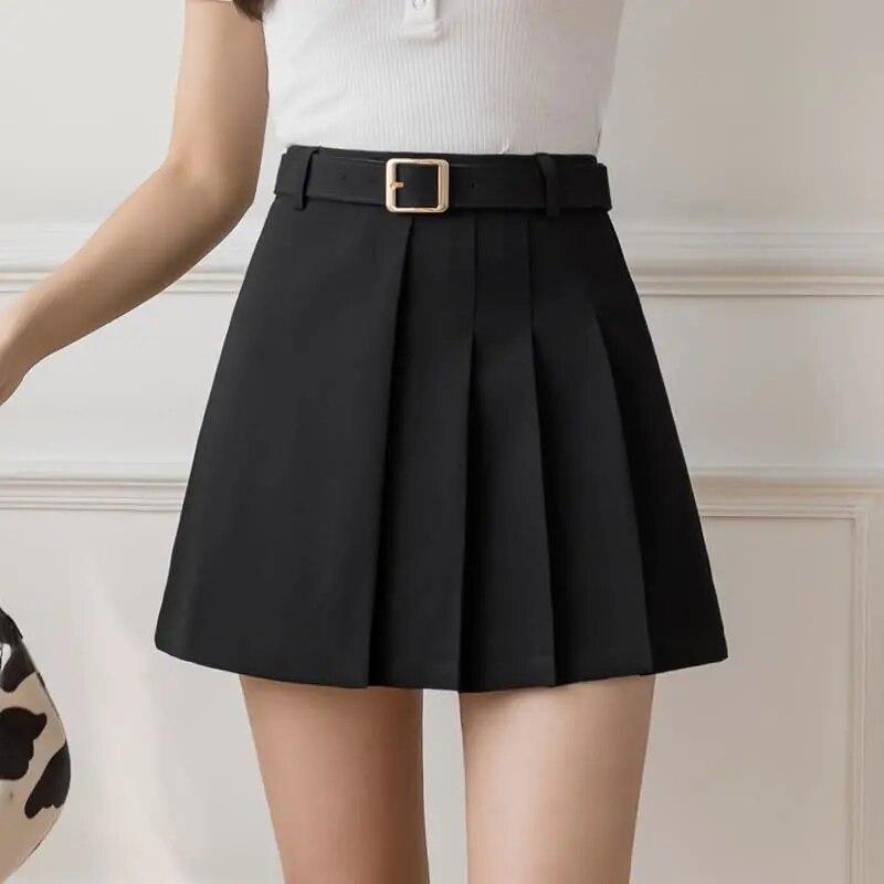 Детали ремень Молодежный колледж Стиль тонкая белая маленькая юбка летние женские черные с высокой талией плиссированные короткие Kilt falda ...