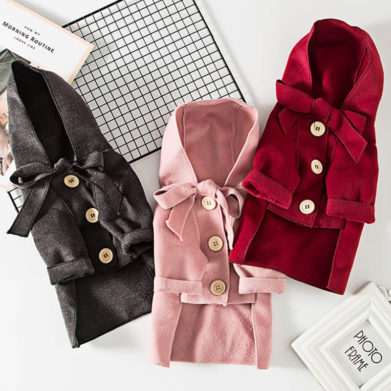 Pet Dog Cloak Trench Coat Dog Clothes Warm Jacket Cat Dog Autumn Winter Jacket for Puppy Kitty Warm Pet Clothing 538040