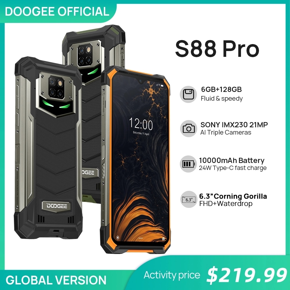 IP68/IP69K DOOGEE S88 Pro Rugged Mobile Phone 10000mAh telephones Helio P70 Octa Core 6GB RAM 128GB