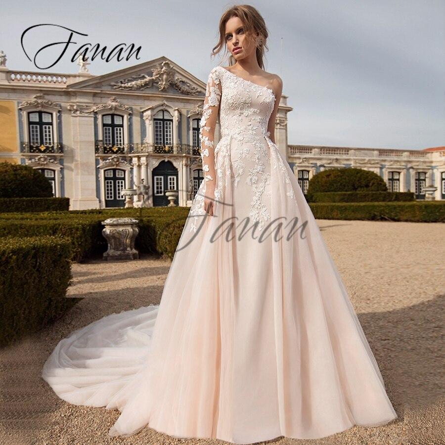 Review One Shoulder Long Sleeve Lace Appliques Wedding Dresses Mermaid Detachable Train Bridal Gown vestido de noiva Свадебное платье