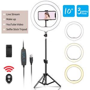 Светодиодный кольцевой светильник 10 дюймов для фотографии, кольцевой светильник для селфи со штативом, подставка для смартфона, Youtube, лампа ...