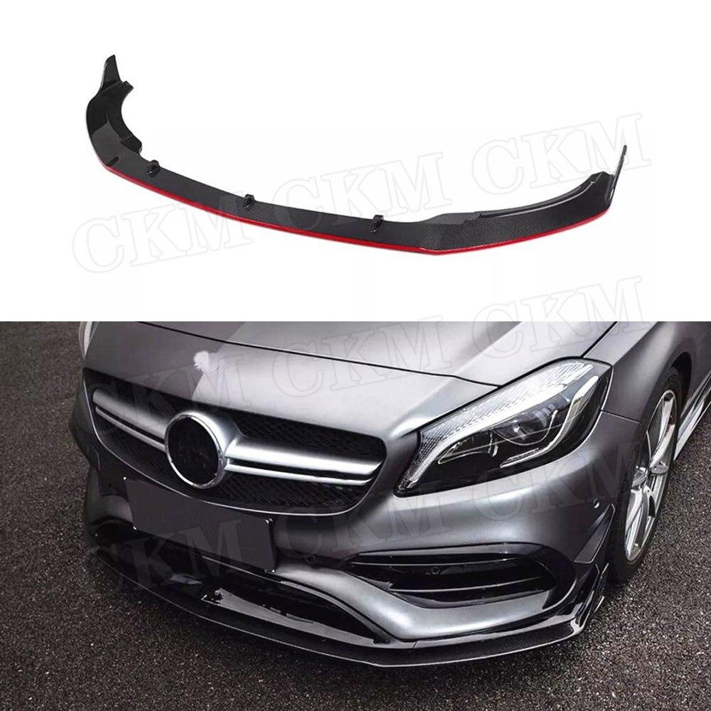 Para W176 de fibra de carbono Perfil de alerón delantero para Benz Clase A200 A250 A45 AMG 2016-2019 cabeza parachoques guardia de Chin Auto estilo