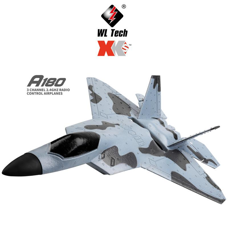 Wltoys Xk A180 F22 RC Plane Three Channel Camera 3d/6g Gyroscope Fixed Wing Glider Model Toy RC Fighter Jet enlarge