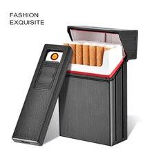 Nuevo mechero de carga de 20 paquetes + caja de cigarrillos de Metal mechero electrónico cargado por USB caja creativa para cigarrillos