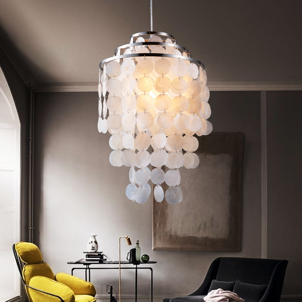 3 Circle loft modern white natural seashell pendant lamp lustres fixture E27 Lights Shell lamps for bedroom living room kitchen  - buy with discount