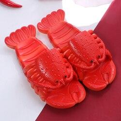 Unissex chinelos de praia feminino tamanho grande 32-45 família engraçado chinelos de lagosta menina sapatos de verão 2020 sapatos de pista das mulheres slides