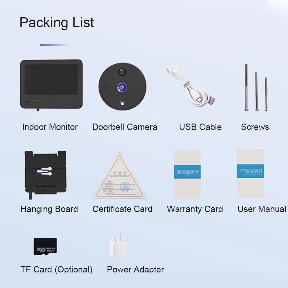 Wireless home video phone, home walkie-talkie, TUYA 1080p wifi ip video walkie-talkie, touch screen ring doorbell with camera enlarge