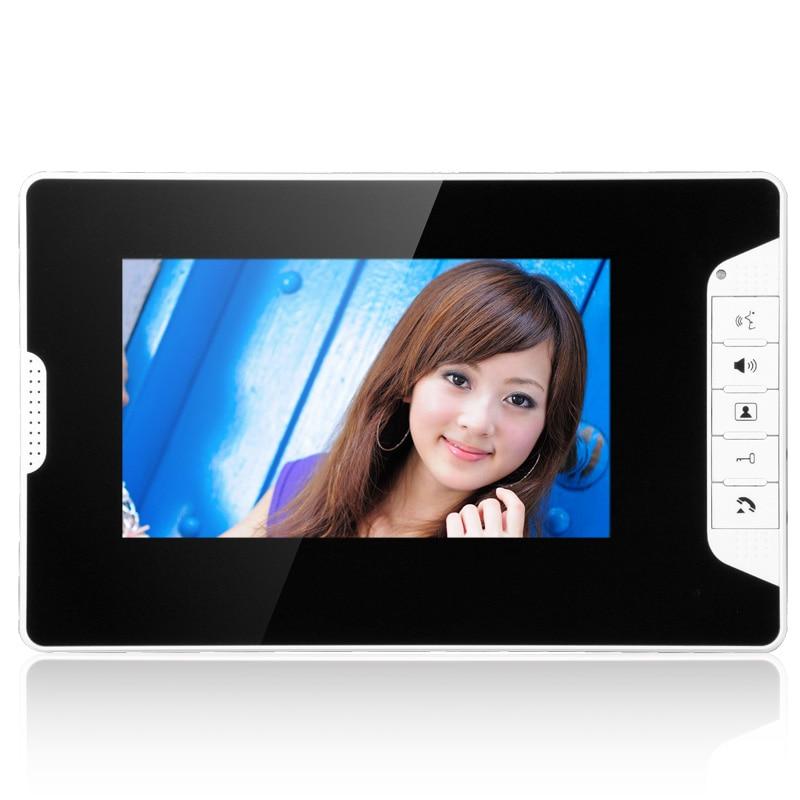 Visual Intercom Doorbell 7'' TFT LCD Wired Video Door Phone System Indoor Monitor 700TVL Outdoor IR Camera Support enlarge