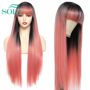 Long Straight Synthetic Wig With Bangs Ombre Pink 28 Inches Daily Style Hair SOKU Heat Resistant Fiber For Black Women Cosplay