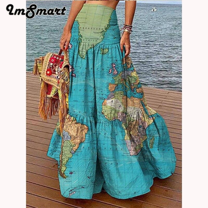 Лето 2021, юбка с высокой талией и картой мира, Длинная женская юбка с 3D принтом, юбка для отпуска с рисунком, юбка с высокой юбкой