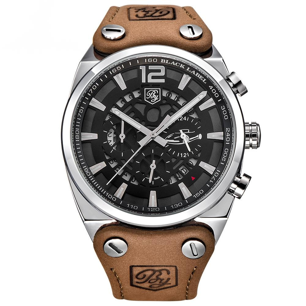Watch Men's Fashion Multi Function Sports Leather Quartz Watch 5112 New