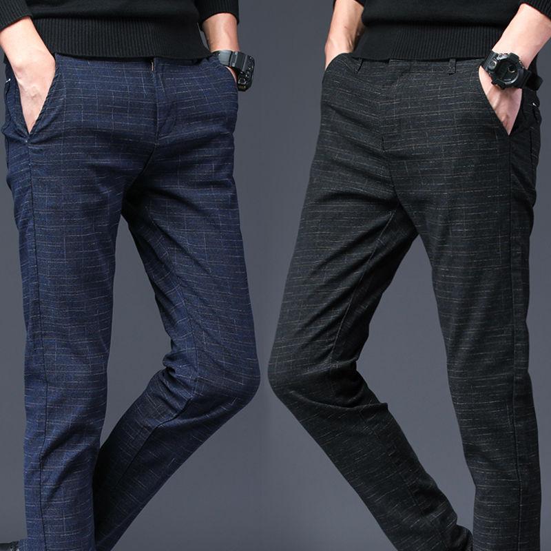 2020 новые клетчатые мужские повседневные брюки прямые Молодежные клетчатые брюки весенняя мода мужской костюм брюки черные синие мужские б...