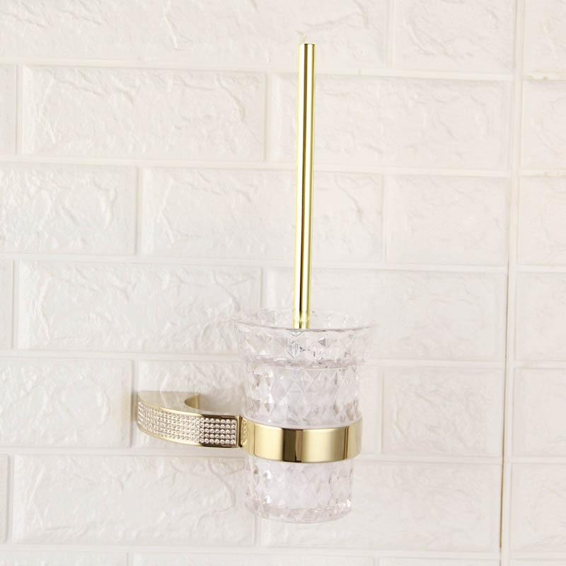 طقم ملحقات الحمام ، طقم مثبت على الحائط من الكريستال التشيكي ، حامل فرشاة الأسنان ، رف سكة حديد ، ملحقات ركن المطبخ من الكروم الذهبي