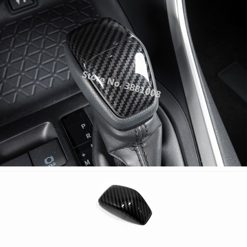 ABS fibra de carbono para Toyota Highlander Kluger 2020, accesorios de palanca de cambio de marchas de coche, Pomo, manija, cubierta, embellecedor, pegatina de estilo para coche