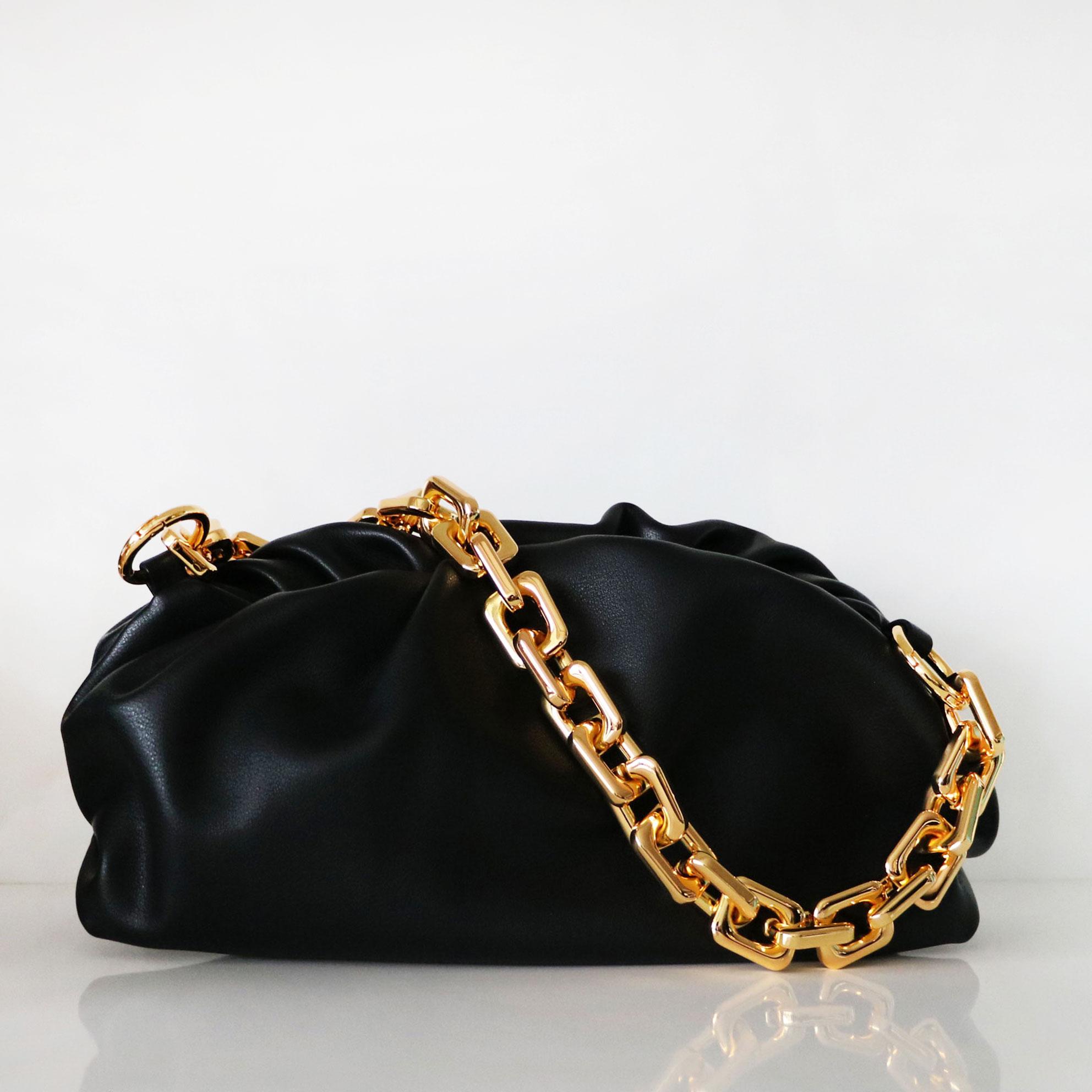New Lady's bag Genuine Leather Women's Handbags Designer Women Bag On The Shoulder Fashion Thick Chain Crossbody Cloud Bag