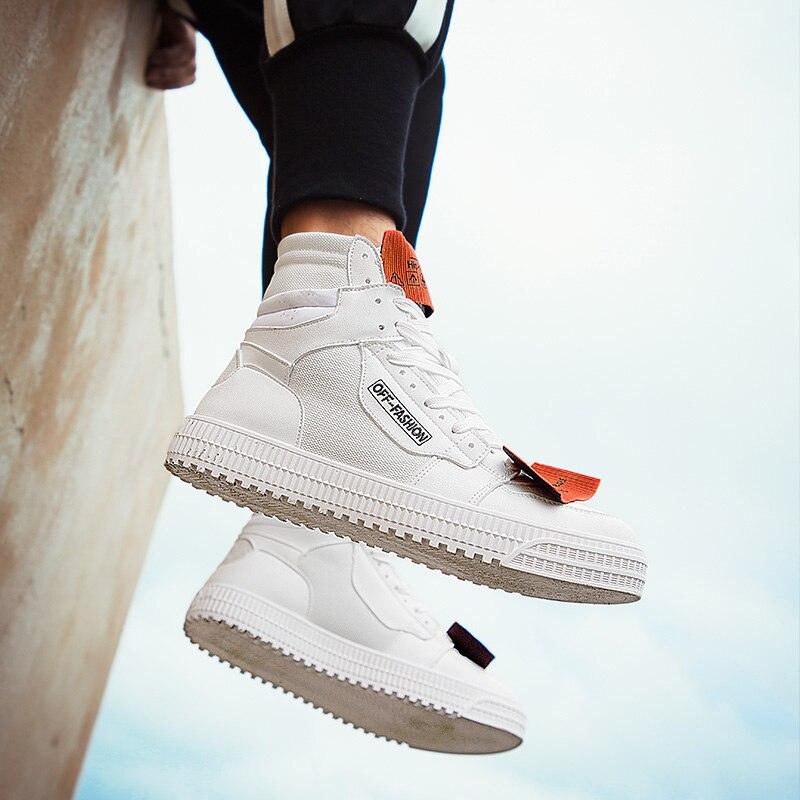 2019 zapatos casuales de moda para hombre al aire libre cómodos zapatillas blancas nuevo Otoño Invierno Popular Hight-Top zapatos para caminar de alta calidad