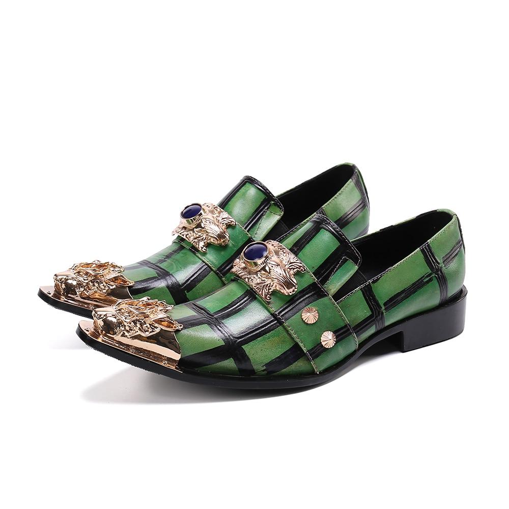 جديد اليدوية الرجال أكسفورد أحذية شخصية الحديد تو فستان جلد أحذية الرجال الانزلاق على الرسمي الأعمال حزب Zapatos Homb