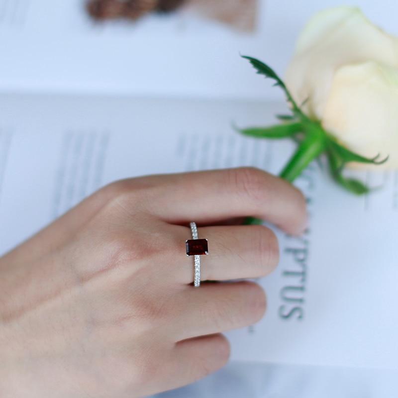 Gems Ballet 1.31Ct, anillos de compromiso de boda rectangulares de Plata de Ley 925, granate rojo Natural, piedras preciosas para mujer, joyería fina