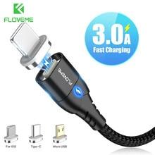 FLOVEME cavo magnetico Micro USB tipo C per iPhone12 cavo di illuminazione 1M 3A cavo di ricarica rapida tipo-c magnete caricabatterie cavo telefonico