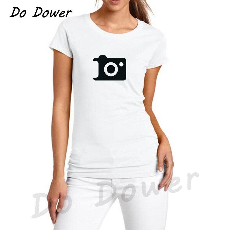 Harajuku Camera Icoon Print Vrouwen Tshirt Katoen O-hals Casual Grappige T-shirt Voor Lady Top Zomer Mode T-shirts 24 Kleuren