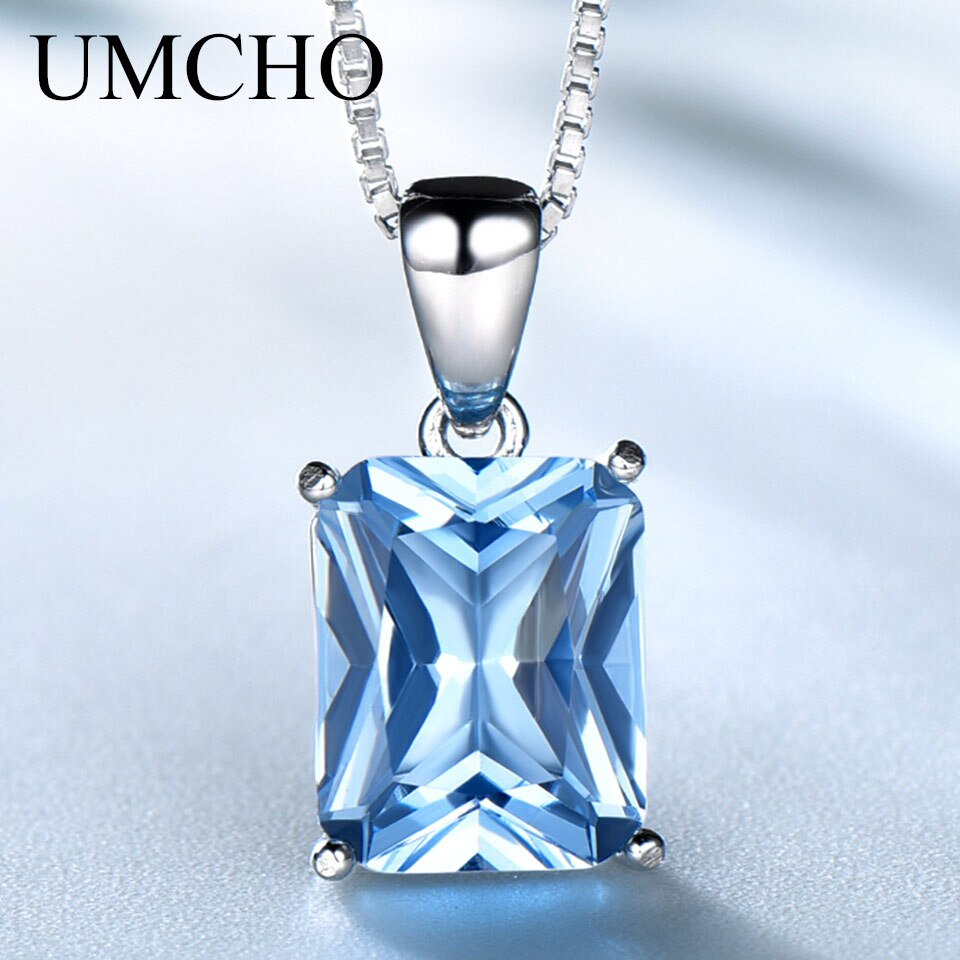 Collar con colgante de piedras preciosas de nanotopacio azul cielo cuadrado UMCHO Plata de Ley 925 auténtica para mujer, regalo para fiesta, elegante joyería fina
