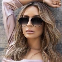 Brand Designer Aviation Sunglasses Women Vintage Black Mirror Sun Glasses For Women Fashion Big Fram