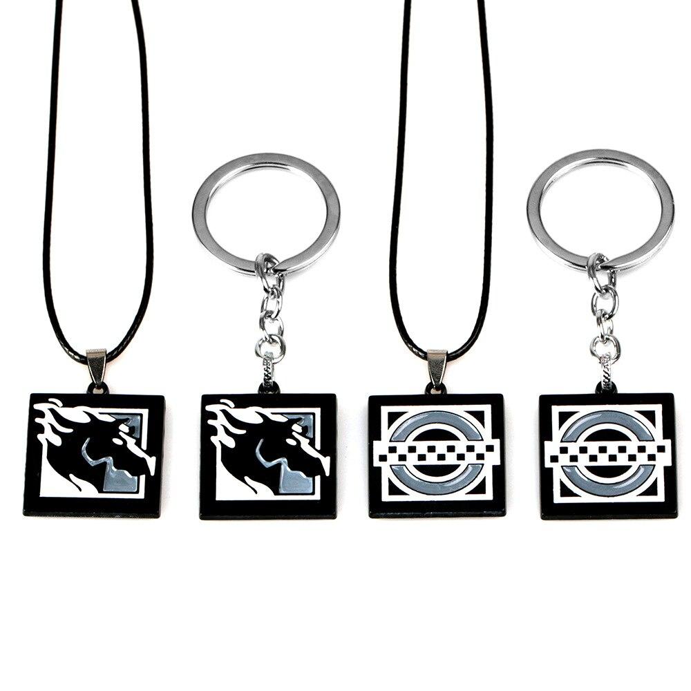 Juego caliente Arco Iris seis 6 Siege Maverick llaveros para hombres mujeres Metal Clash llavero principales de anime anillo titular Porte Clef Jewelry