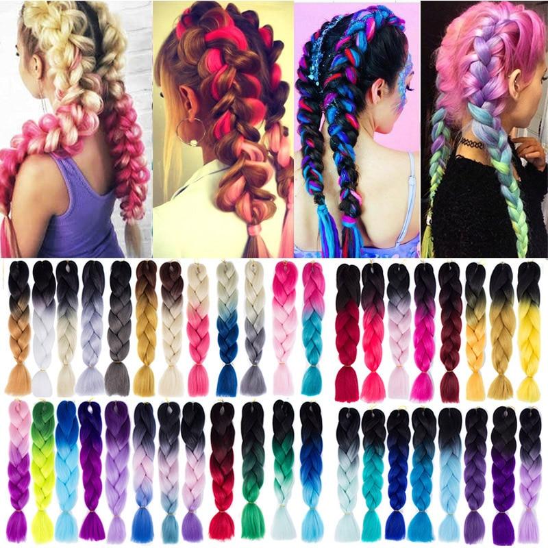 24 дюйма вязание крючком плетение наращивание волос Омбре фиолетовый розовый зеленый блонд Kanekalon Джамбо косички Длинные Синтетические волосы LUPU