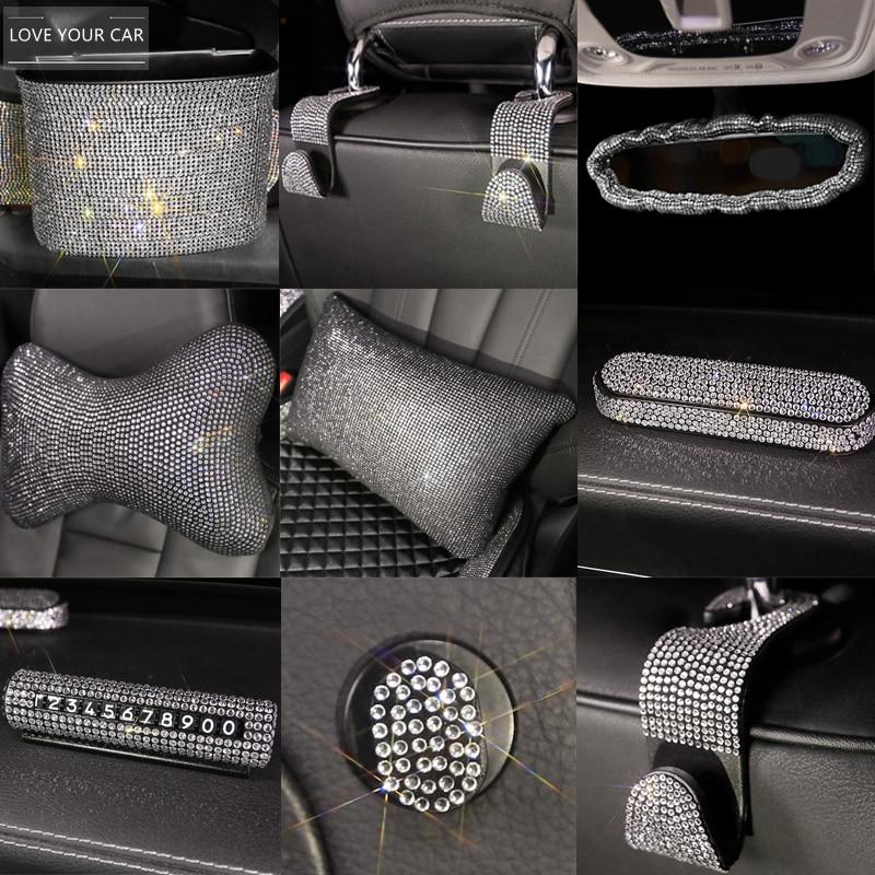 Luxury Diamond Crystal Car Steering Wheel Covers Universal Bling Bling Rhinestone Steering Covers for Girls Car Accessories