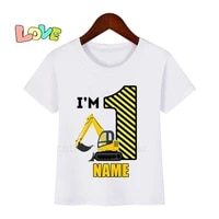 kids cartoon excavator 1 10 birthday number print t shirt children birthday name t shirts boygirl funny gift tshirt present