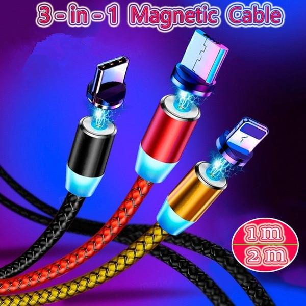 Cable de carga magnético para iPhone, Micro USB C de nailon fuerte,...