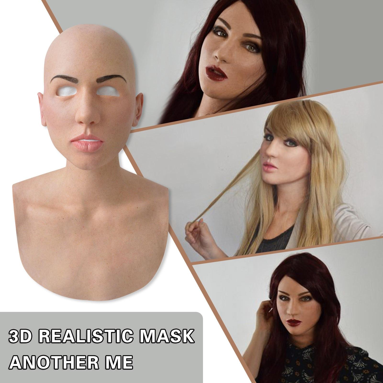 Máscara de Látex Máscara de Halloween Completa Beleza Careca Cosplay Feriado Engraçado Máscaras Assustador Festa Supersoft Adulto Máscara Dropshipping
