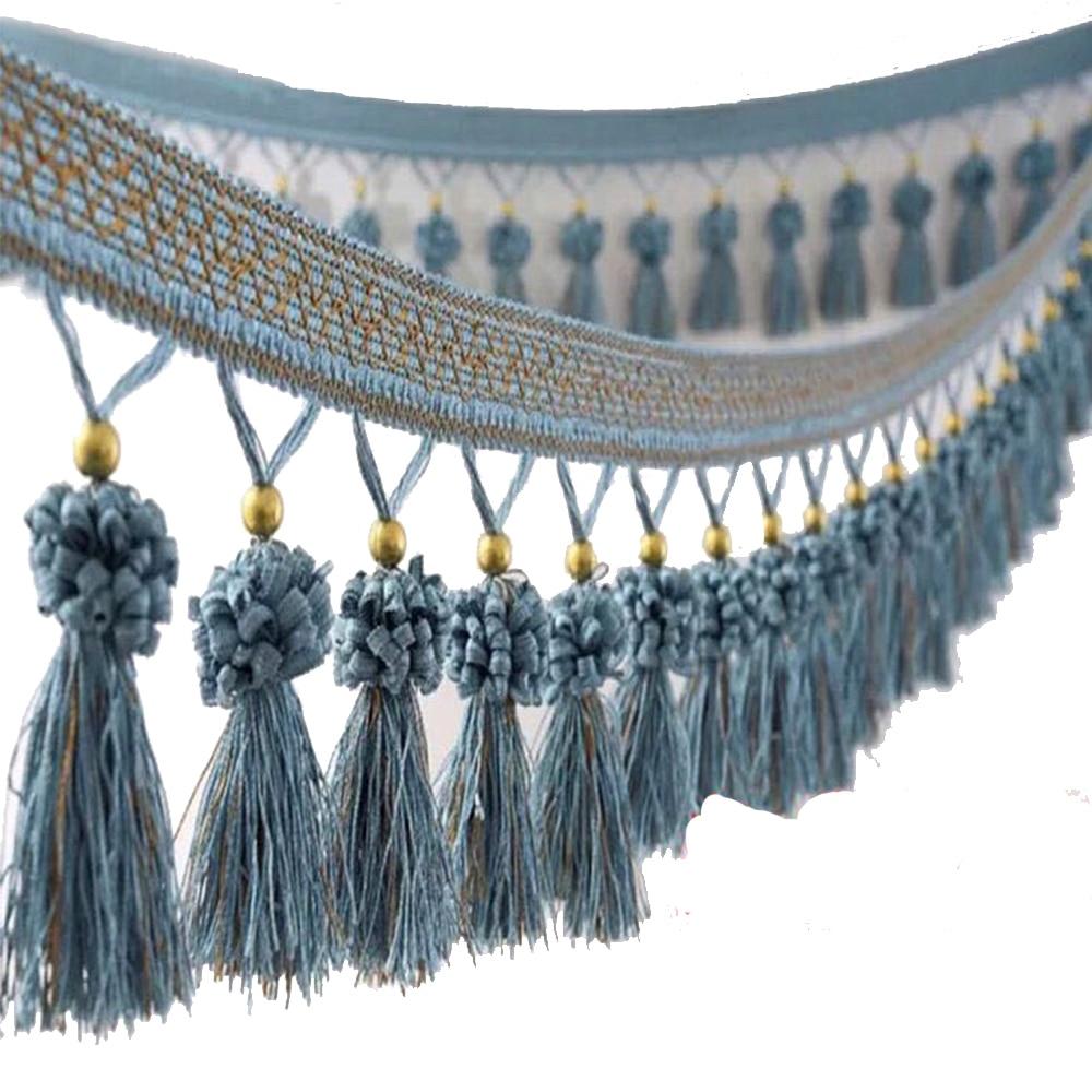 Africana de encaje tela, borla, fleco bola recortar trenzado de cinta recortar suministros de costura para cortina de 12 metros/T664