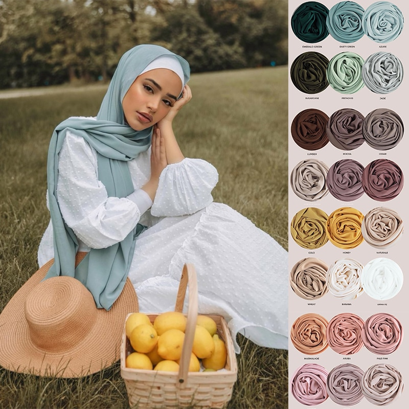 pleated hijab muslim fashion accessories hijab for women crinkle scarf chiffon headscarf for ladies solid color head wrap Bubble Chiffon Hijab Scarf Women Muslim Fashion Plain Headscarf Head Wrap Shawl Scarves for Ladies Islam Hijabs Femme Musulman