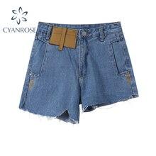 2021 Streetwear Vintage Irregular Women's Denim Shorts Summer Fashion High Waist Pocket Patchwork Ca