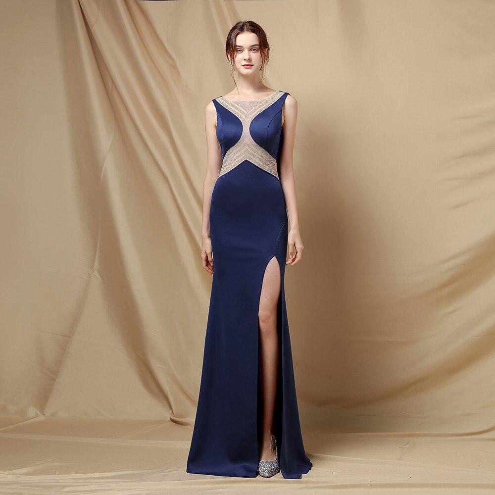 Fashion Bridal Robe De Soriee الرسن Crisatl تول س الرقبة فساتين سهرة طويلة مثير حورية البحر فساتين حفلات جانبية سبليت 5 ألوان