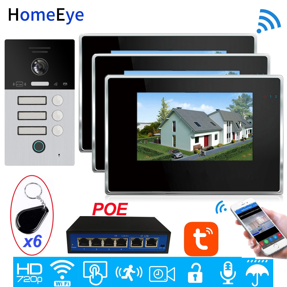 Code Keypad+RFID Card+Fingerprint Home Access Control TuyaSmart App Remote Unlock WiFi Video Intercom System IP Video Door Phone