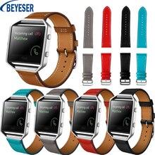 Bracelet de montre en cuir véritable pour Fitbit Blaze bracelet de poignet bracelet de montre de remplacement de Sport intelligent avec accessoires de boucle en métal