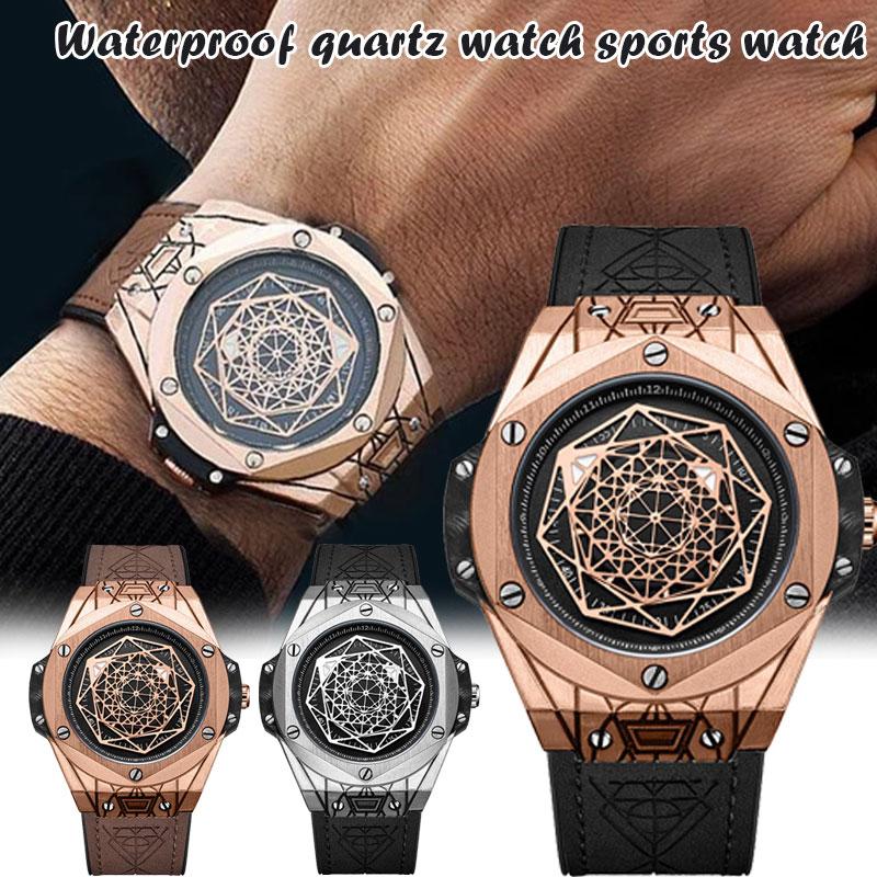 Newly Exquisite Gentleman Geometry Identity Personalized Quartz Watch Waterproof Fashion Glass Mirror Round Dial m99