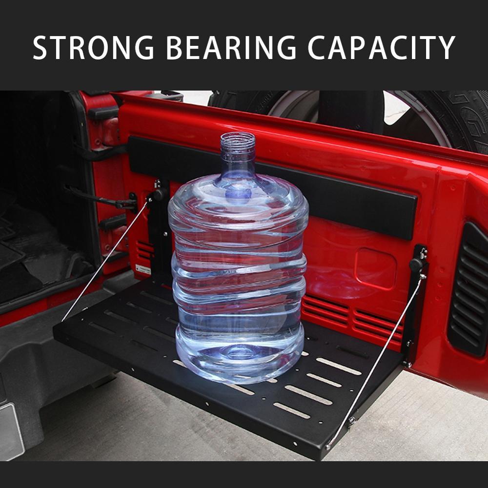 Metal Tailgate Table Rear Door Cargo Luggage Carrier Foldable Shelf Storage Rack for Jeep Wrangler JK 2007-2017